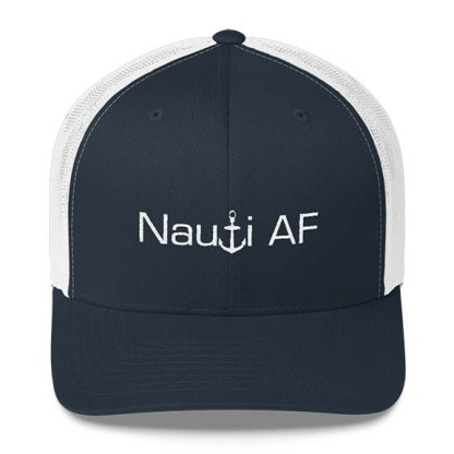 Nauti AF Trucker Hat in Navy and White