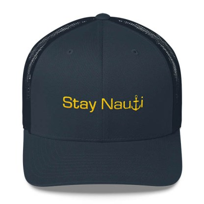 Stay Nauti Trucker Hat in Navy and Gold