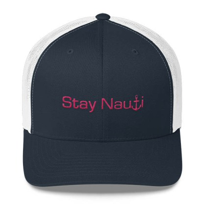 Stay Nauti Trucker Hat in Navy White and Pink
