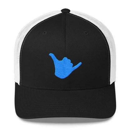 Shaka Trucker Hat in Black White and Aqua
