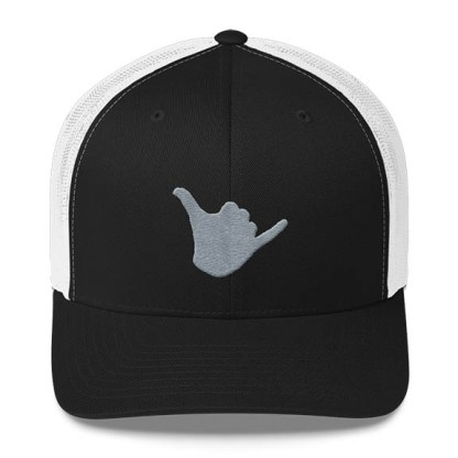 Shaka Trucker Hat in Black and White and Grey