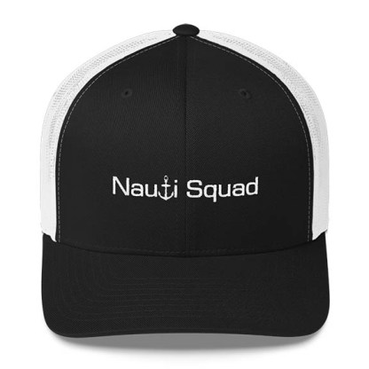 Nauti Squad Trucker Hat in Black and White with White