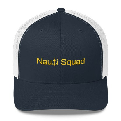 Nauti Squad Trucker Hat in Navy and White with Gold
