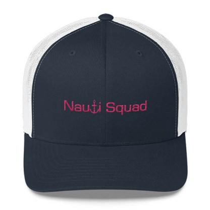 Nauti Squad Trucker Hat in Navy and White with Pink