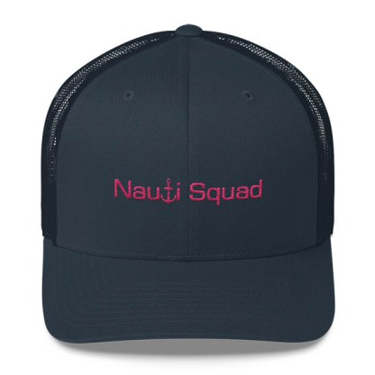 Nauti Squad Trucker Hat in Navy with Pink