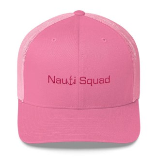 Nauti Squad Trucker Hat in Pink and Pink