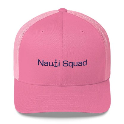 Nauti Squad Trucker Hat in Pink and navy