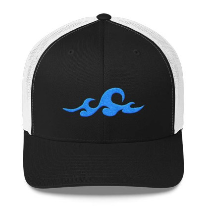 Waves Trucker Hat in Black and White