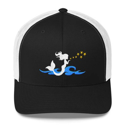 Mermaid Trucker Hat in Black and White