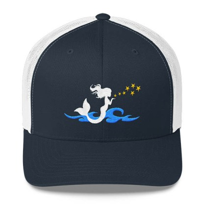 Mermaid Trucker Hat in Navy and White