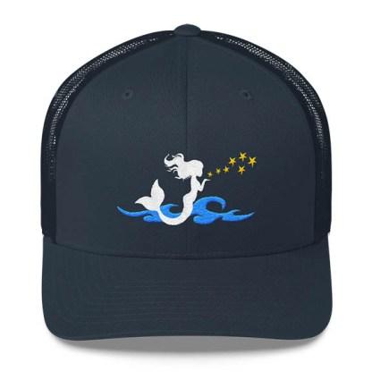 Mermaid Trucker Hat in Navy