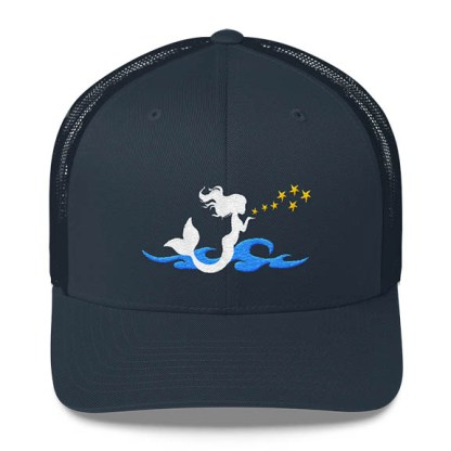 Mermaid Trucker Hat in Navy