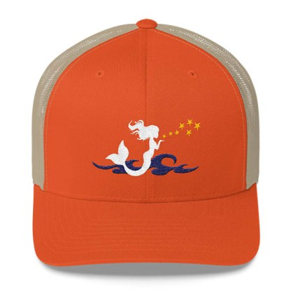 Mermaid Trucker Hat in Orange