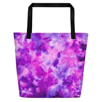 purple tie dye beach tote - front