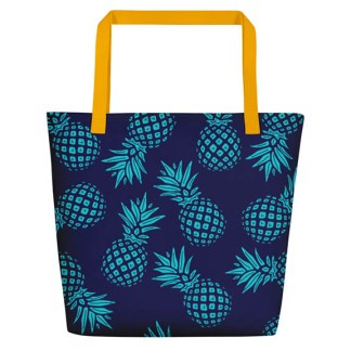 Pineapple beach tote in navy and aqua front