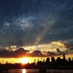 sunset over city