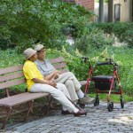 Lynsey Moore, in her 80s, and Stedman Joseph, 99, take the air at the Morningside Heights Housing Corporation