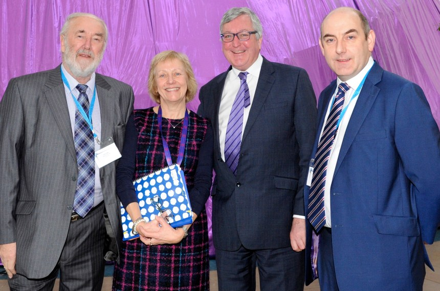 Holidays on the agenda: at the Edinburgh parks conference are (left to right) Colin Fraser, chairman of the British Holiday & Home Parks Association (Scotland); BH&HPA Scottish policy director Jeanette Wilson; Scottish tourism minister Fergus Ewing, and Henry Wild who is national chairman of BH&HPA