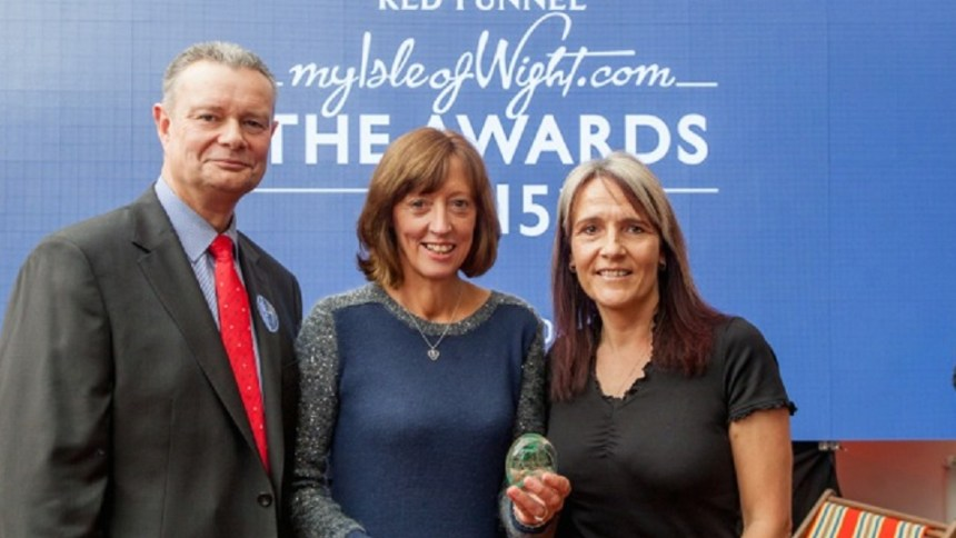 Pictured at the Red Funnel Ferry awards are (left to right) Red Funnel CEO Kevin George, The Orchards business owner Julie Gray, and the park's general manager Karen Tosdevin
