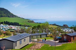 It's always a fine outlook for holiday homes at Ladram Bay