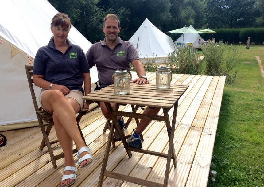Vicky and Martin Bowrey (above) have also made their bee-friendly park a sweet retreat for glamping guests