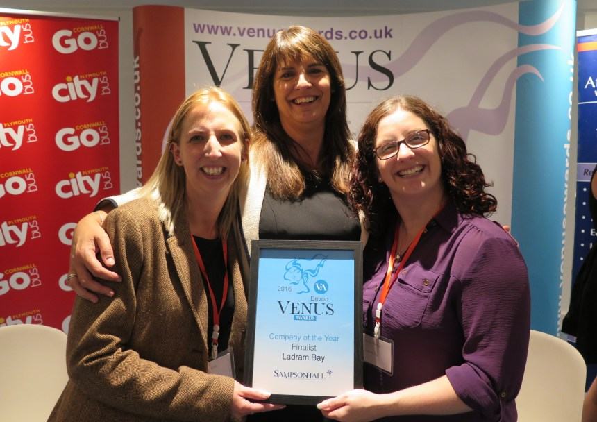 Ladram Bay's holiday sales manager Lisa Spickett (left) and marketing and events manager Carla Newman (right) are congratulated at the finalists night by (centre) category sponsor Sandra Sampson of Exeter-based Sampson Hall