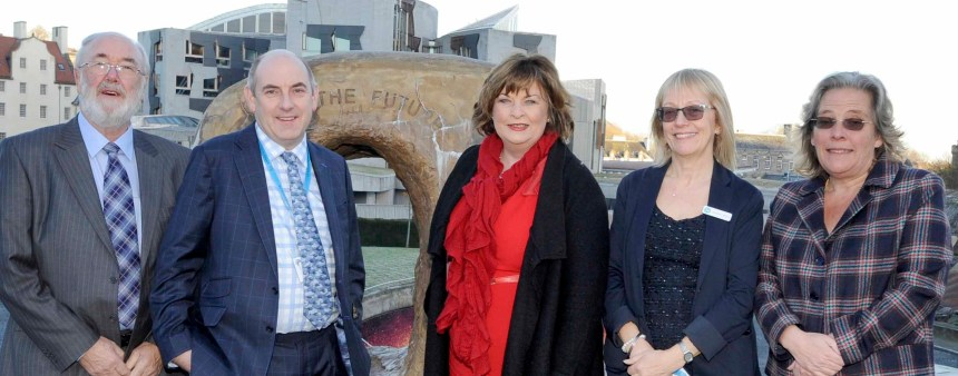 Tourism talks: picture outside Dynamic Earth are chairman of BH&HPA (Scotland) Colin Fraser; national BH&HPA chairman Henry Wild; Scottish tourism minister Fiona Hyslop MSP; BH&HPA (Scotland) policy director Janette Wilson, and director general of BH&HPA Ros Pritchard