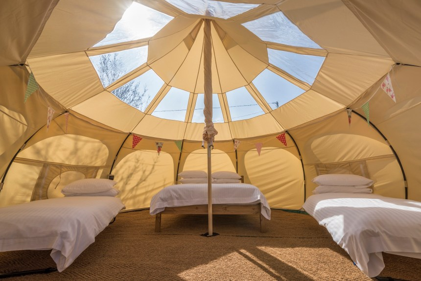 A stargazer's paradise: the tent's transparent roof allows park guests to enjoy Dorset's twinkling night skies