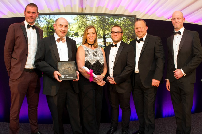 Simply the best: Skelwith Fold's team at the awards included (from left) Matt Faulkner, Henry Wild, Rebecca Jackson, Daniel Westbury and Geoff Elliot. Far right is Jason Bain from category sponsor NatWest Commercial Banking