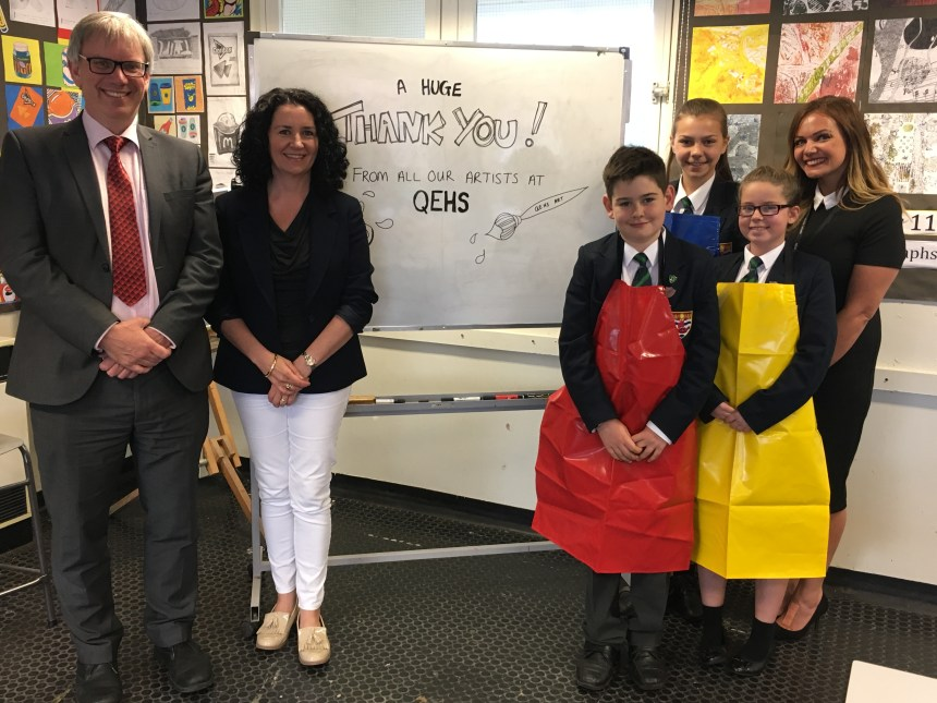 Head teacher David Allsop (left) with Tracey Coulson and (far right) head of art Emily Walsh with pupils