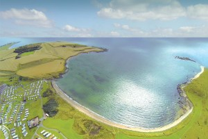From above, the stunning beachside location of Fife's Elie Holiday Park