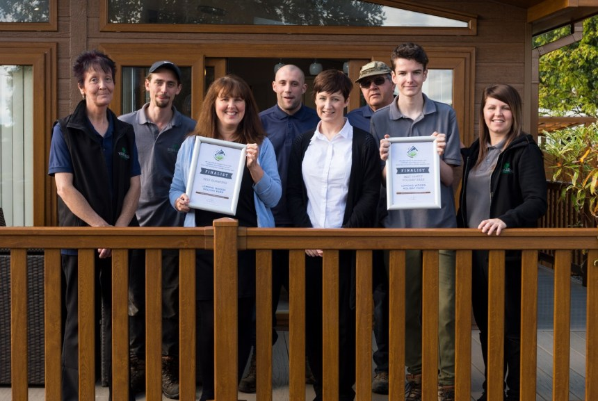 Park manager Paula Smith proudly displays one of the finalist certificates with other members of the staff team