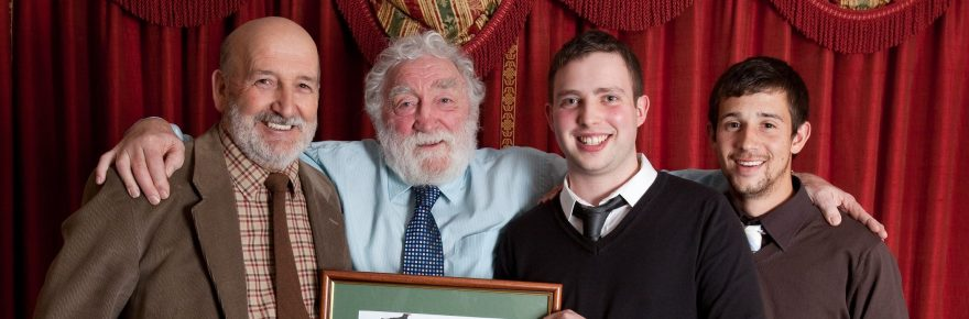 Turning green into gold: Professor David Bellamy presents his prestigious conservation award to (from left) park owner Alan Palmer, park conservation officer Adam Swindell, and park groundworks manager Chris Patterson