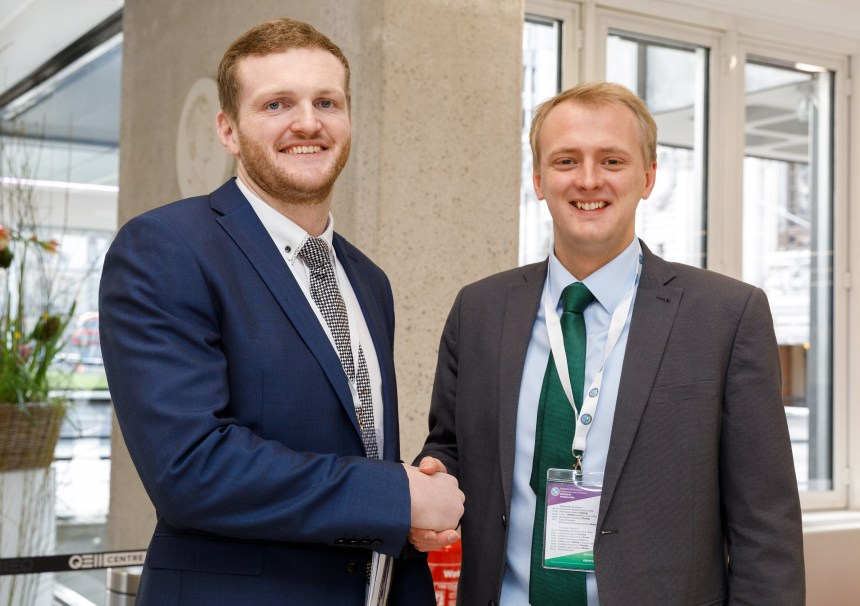 Charles Lloyd Jones (left) welcomes Ceredigion MP Ben Lake to the Westminster holiday parks conference
