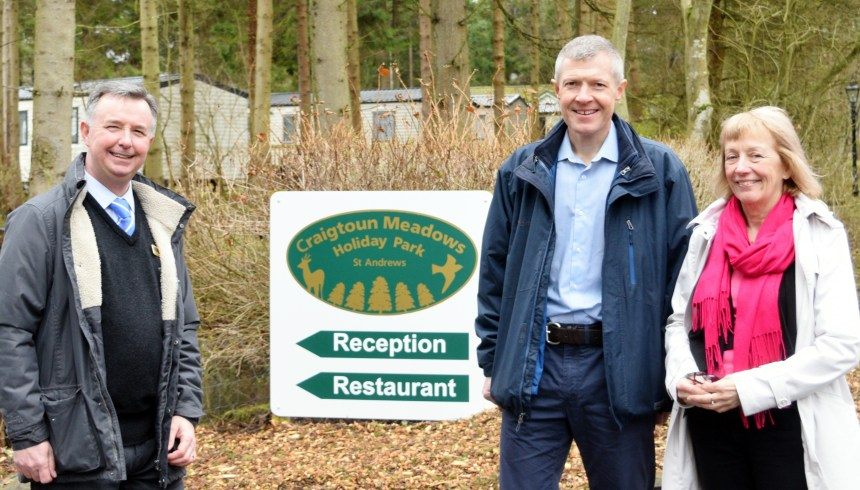 Willie Rennie MSP (centre) toasts Scottish tourism at Craigtoun Meadows Holiday Park in St Andrews with park managing director Jim Gordon and Jeanette Wilson MBE, policy director for the parks association BH&HPA Scotland