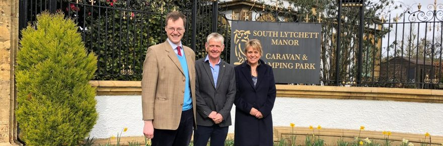 Michael Tomlinson MP (left) toured South Lytchett Manor holiday park with its owners David and Joanne Bridgen