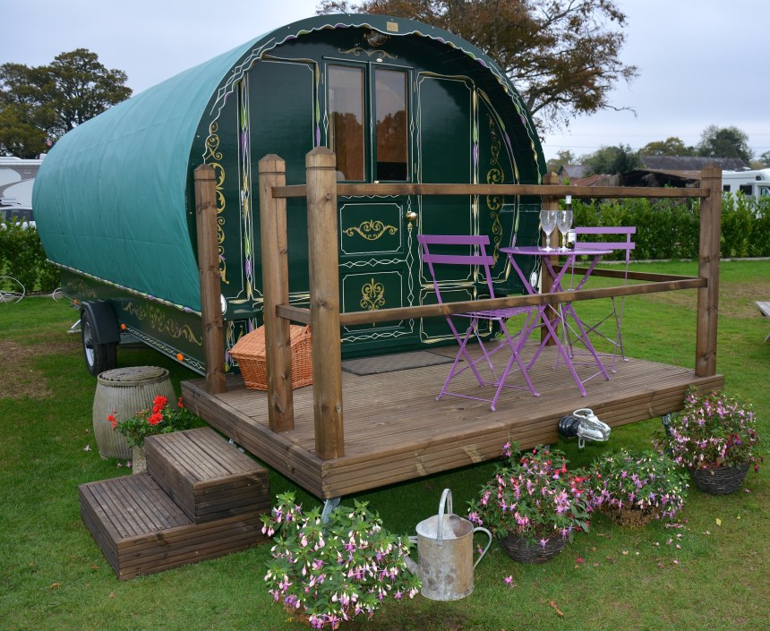 Hand-built Romany caravans, fully equipped and with luxury furnishings, are a popular glamping option at the park