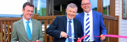 It's a snip: Willie Rennie MSP declares officially open the new Elie Holiday Park leisure homes development with (left) Alex Nairn of Elie Estate and Kevan Lodge, director of park owners Abbeyford Leisure