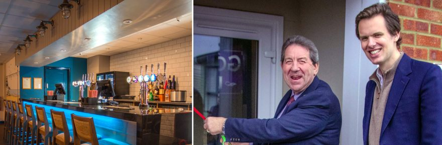 Opening time: Gordon Henderson MP launches the park's club accompanied by business owner Raoul Fraser