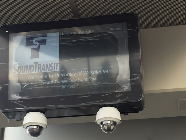 Information screen in test mode at UW Station
