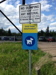 This is the signage at the parking lot of the South West Off Leash Recreation Area which is within the Richard St. Barbe Baker Afforestation Area, City of Saskatoon, SK, CA