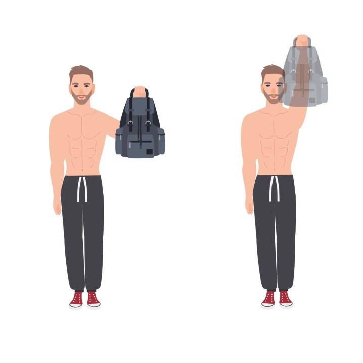 Illustration Einarmiges Schulterdrücken