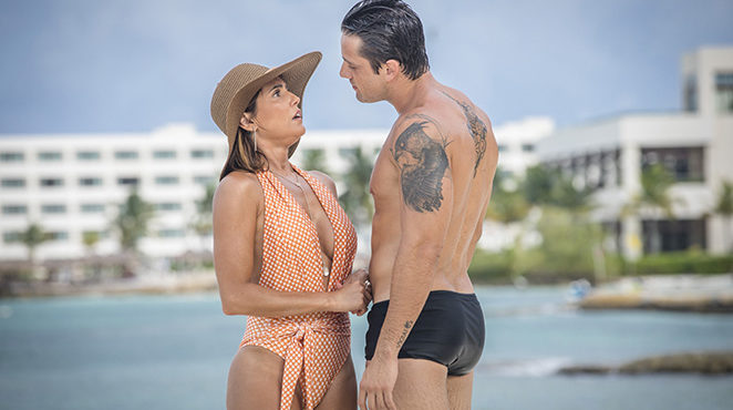 Alexia and Renzo in a hot scene of the soap opera of seven (photo: publicity / TV Globo)