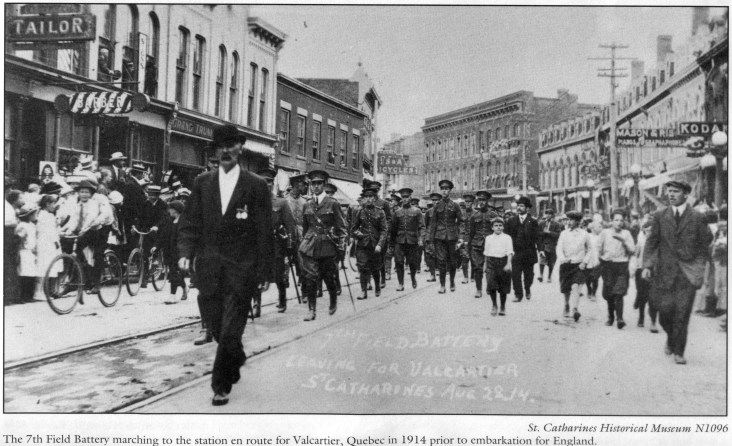 7th Field Battery marching to the train station en route to Valcartier, Quebec in 1914 prior to embarkation for England - St. Catharines Museum