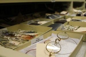Shipman's glasses are stored with other eyewear in the Museum's collection.
