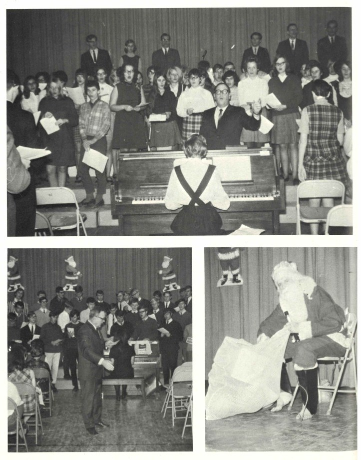 Collage of photos from Grantham High School Christmas 1969 festivities.