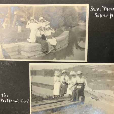 black and white photos of young women enjoying recreation and leisure, 1910s.
