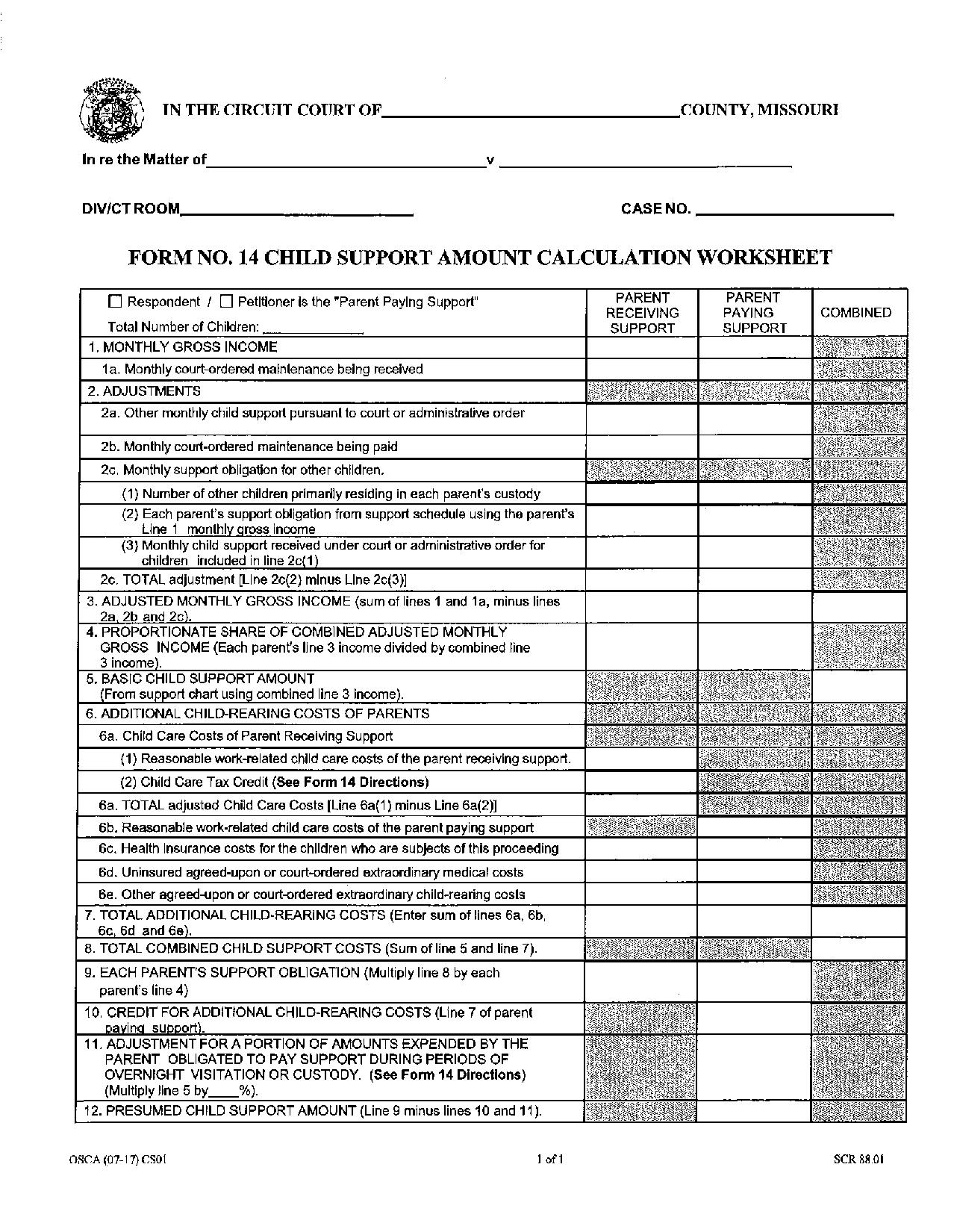 Calculating Child Support What Is The Form 14