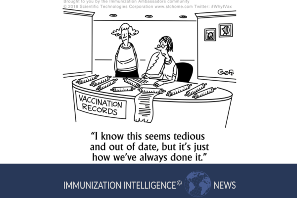 "Cartoon of two women behind a desk labeled ""Vaccination Records."" One woman is standing behind the desk. The other woman is sitting behind the desk and manually writing on scrolls with a feather ink pen. She says, ""I know this seems tedious and out of date, but it's just how we've always done it."""