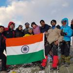 Vicky Smith at the Himalayan peak with her team